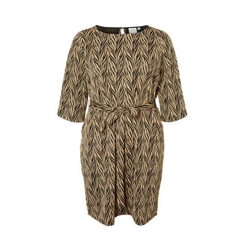 JUNAROSE jurk met all over print en ceintuur zwart goud