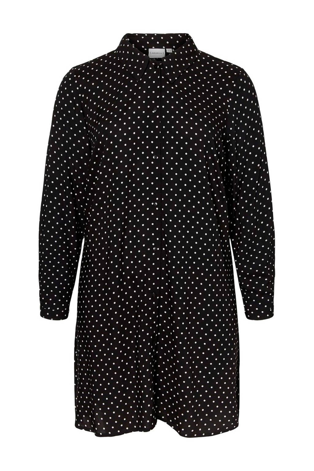 JUNAROSE blouse met stippen zwart/wit, Zwart/wit