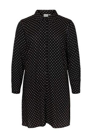 blouse met stippen zwart/wit