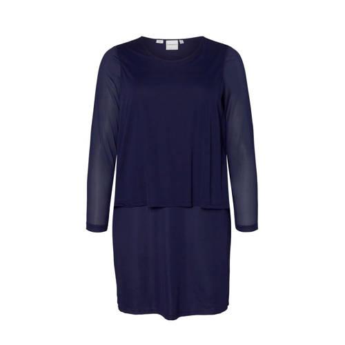 JUNAROSE semi transparante jersey jurk donkerblauw