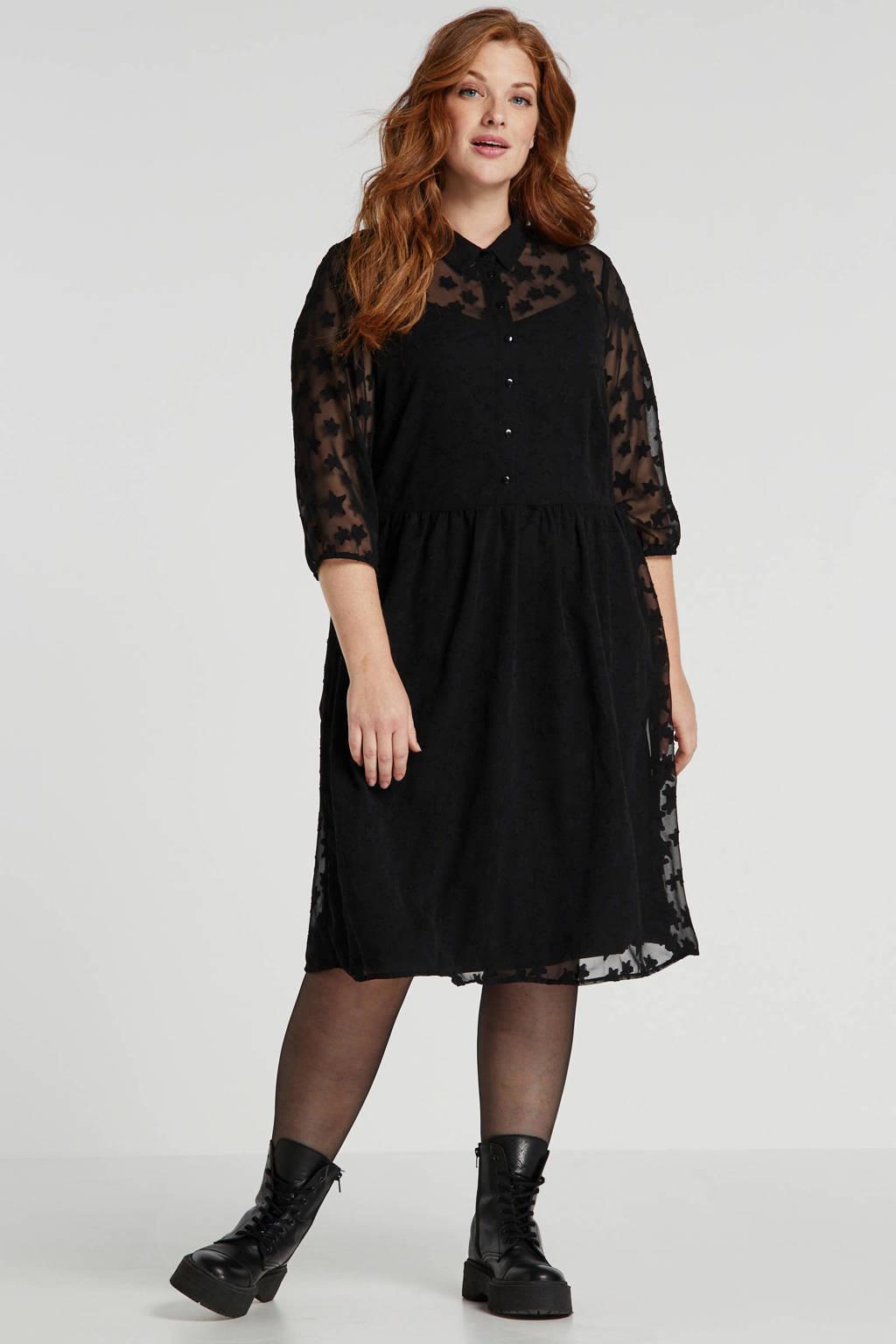 JUNAROSE semi-transparante jurk met sterren zwart, Zwart