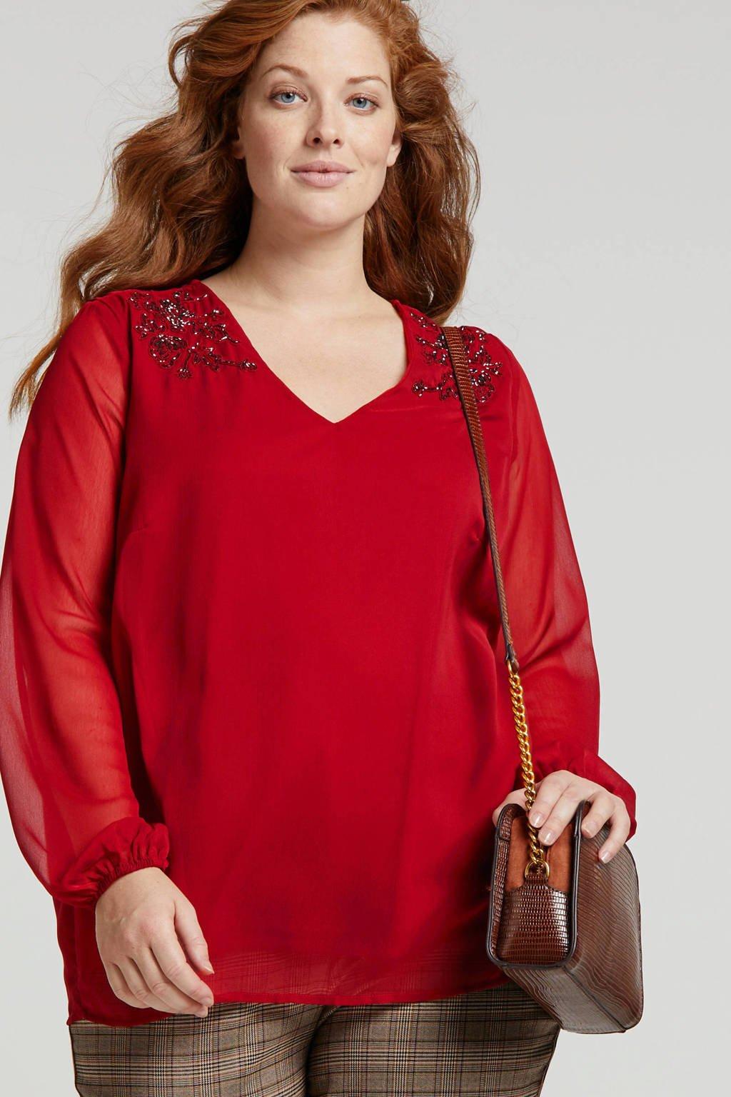 JUNAROSE blouse met kraaltjes rood, Rood