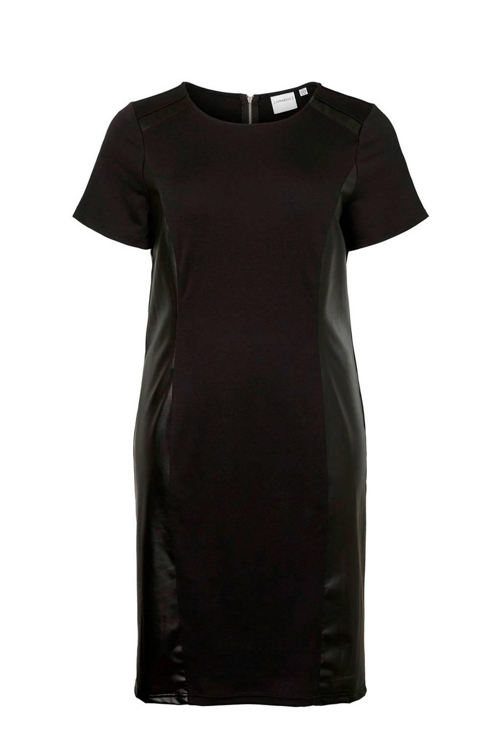JUNAROSE imitatieleren jersey jurk zwart, Zwart