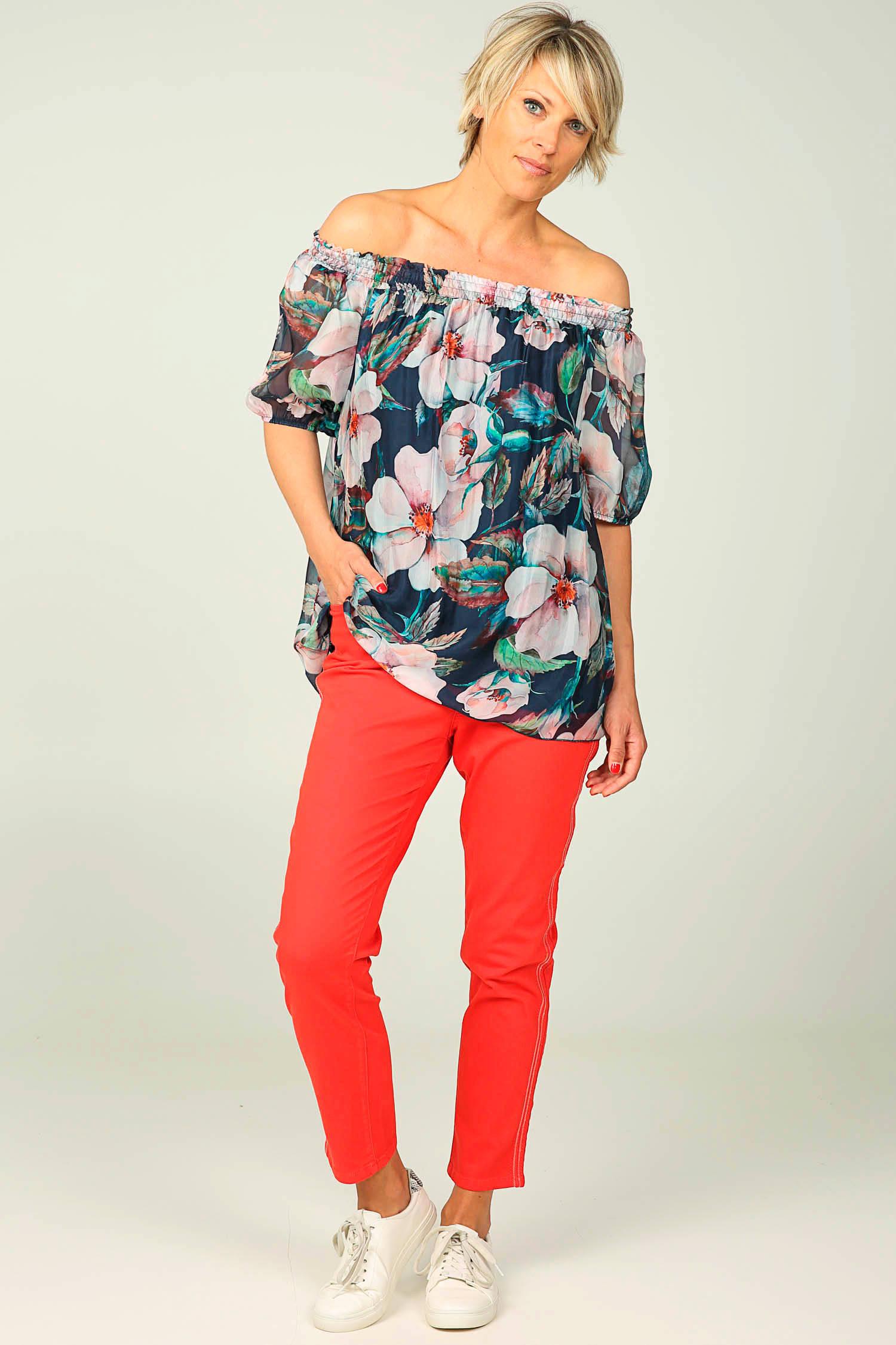 Cassis cropped slim fit broek met pailletten rood | wehkamp