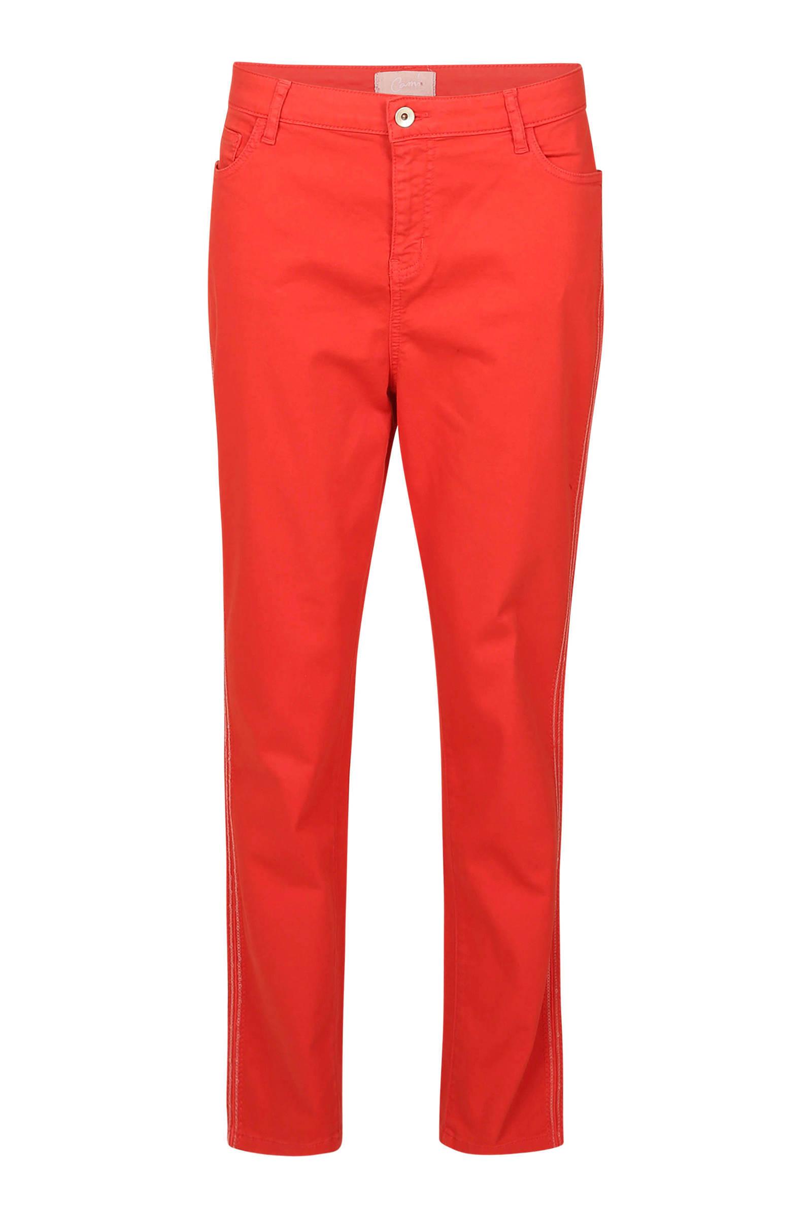 cropped slim fit broek met pailletten rood