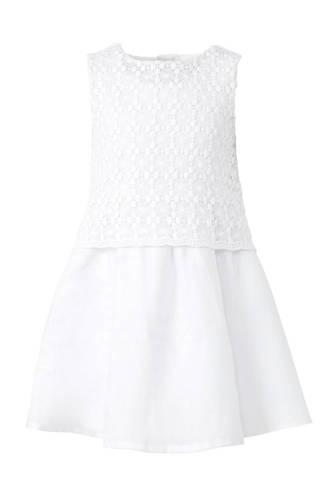 linnen jurk met kant wit