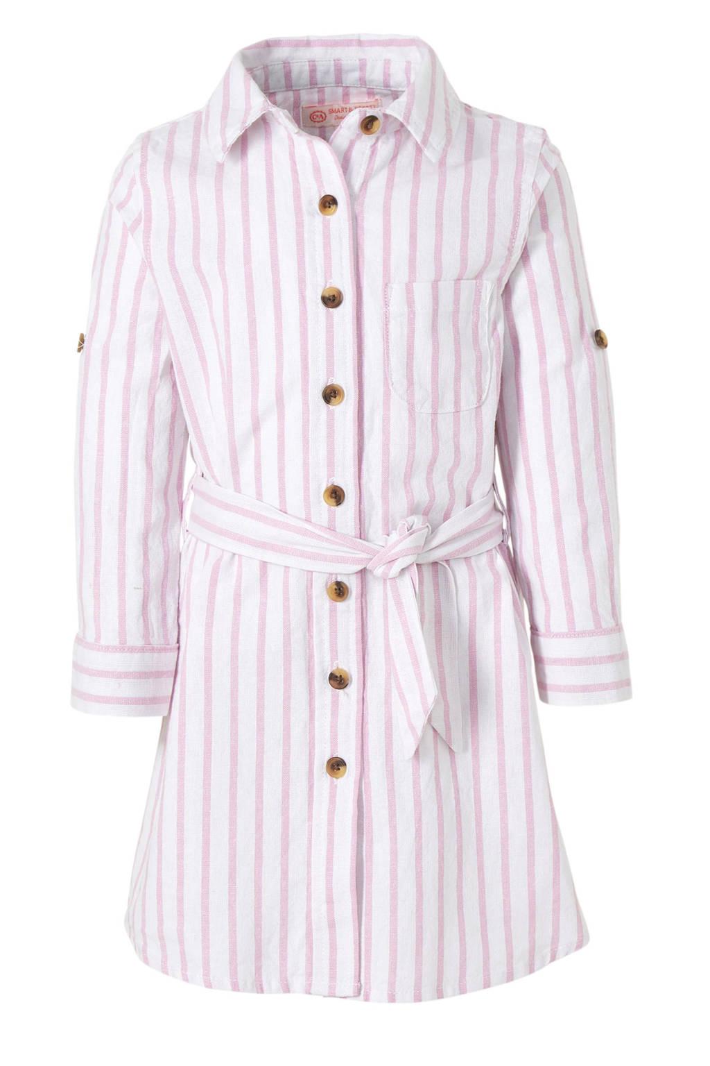 6da244eef1c155 C A gestreepte blousejurk roze