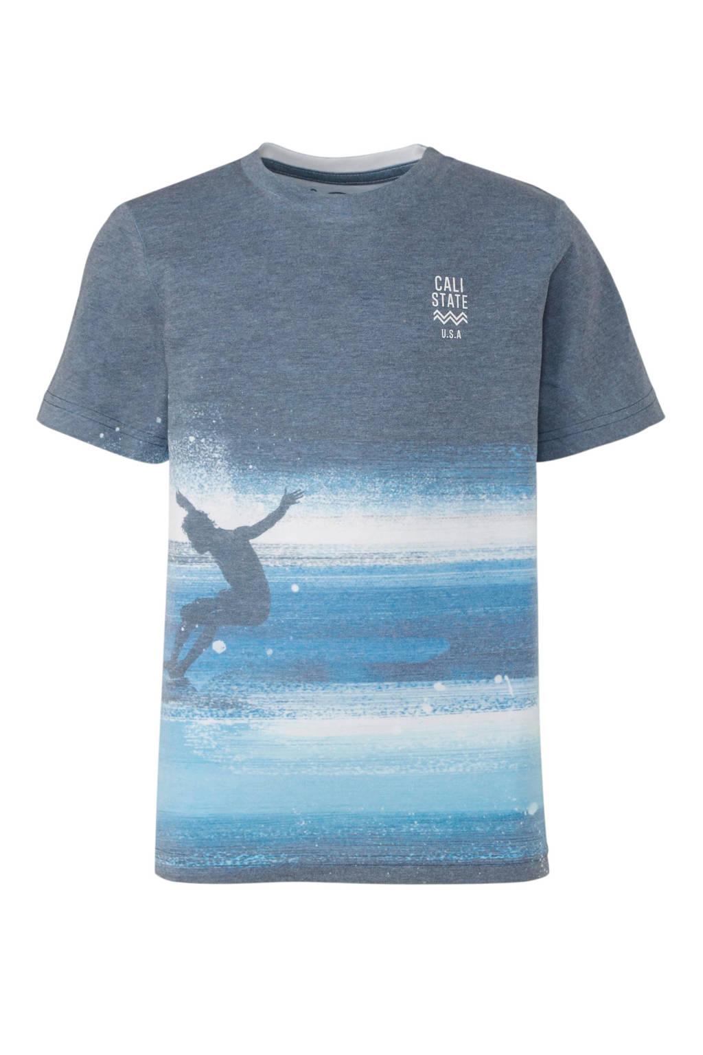 C&A Here & There T-shirt met printopdruk blauw, Blauw/wit