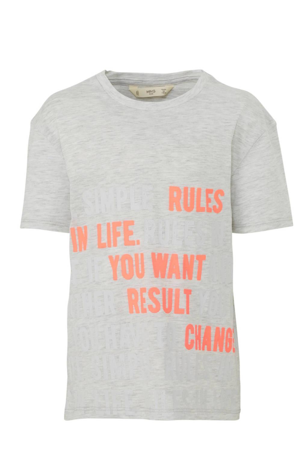 Mango Kids T-shirt met tekst grijs, Grijs melange