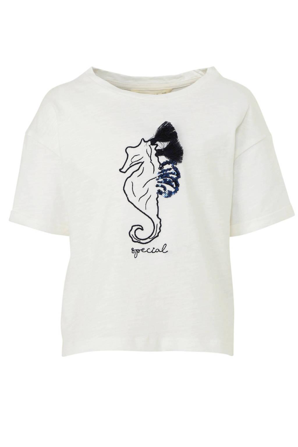 Mango Kids T-shirt met printopdruk en pailletten wit, Wit