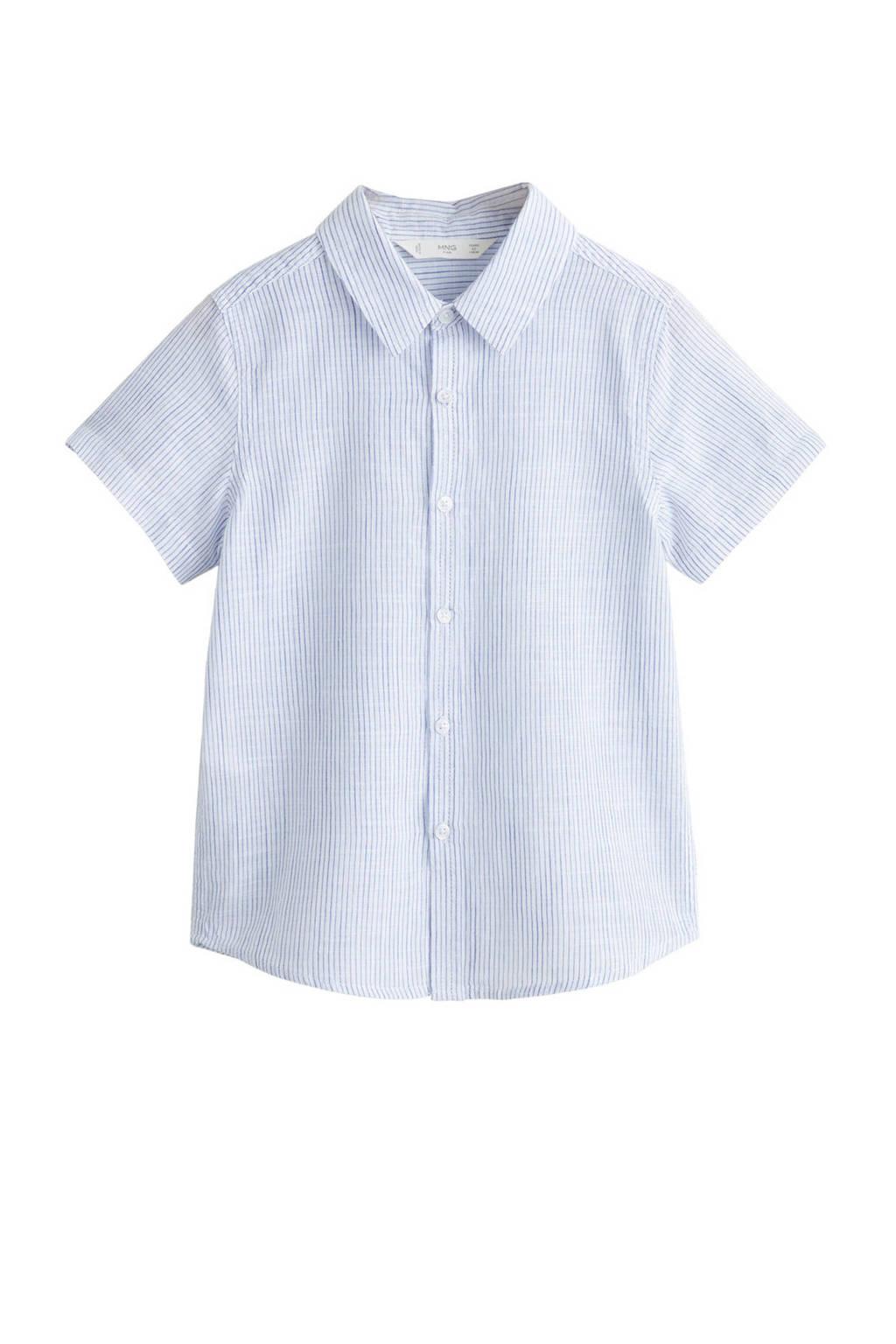 Mango Kids gestreept overhemd wit/blauw, Wit/blauw