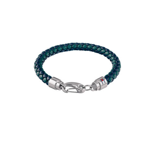 Tommy Hilfiger TJ2790045 Armband leder-staal blauw-groen