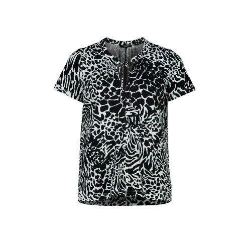 Claudia Str??ter top met zebraprint zwart/wit/mint