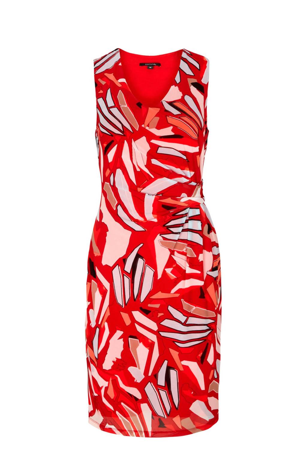 comma jurk met all over print rood, Rood