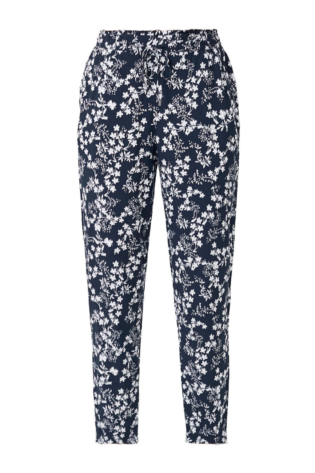s.Oliver gebloemde cropped tapered fit broek marine/wit, Marine/wit