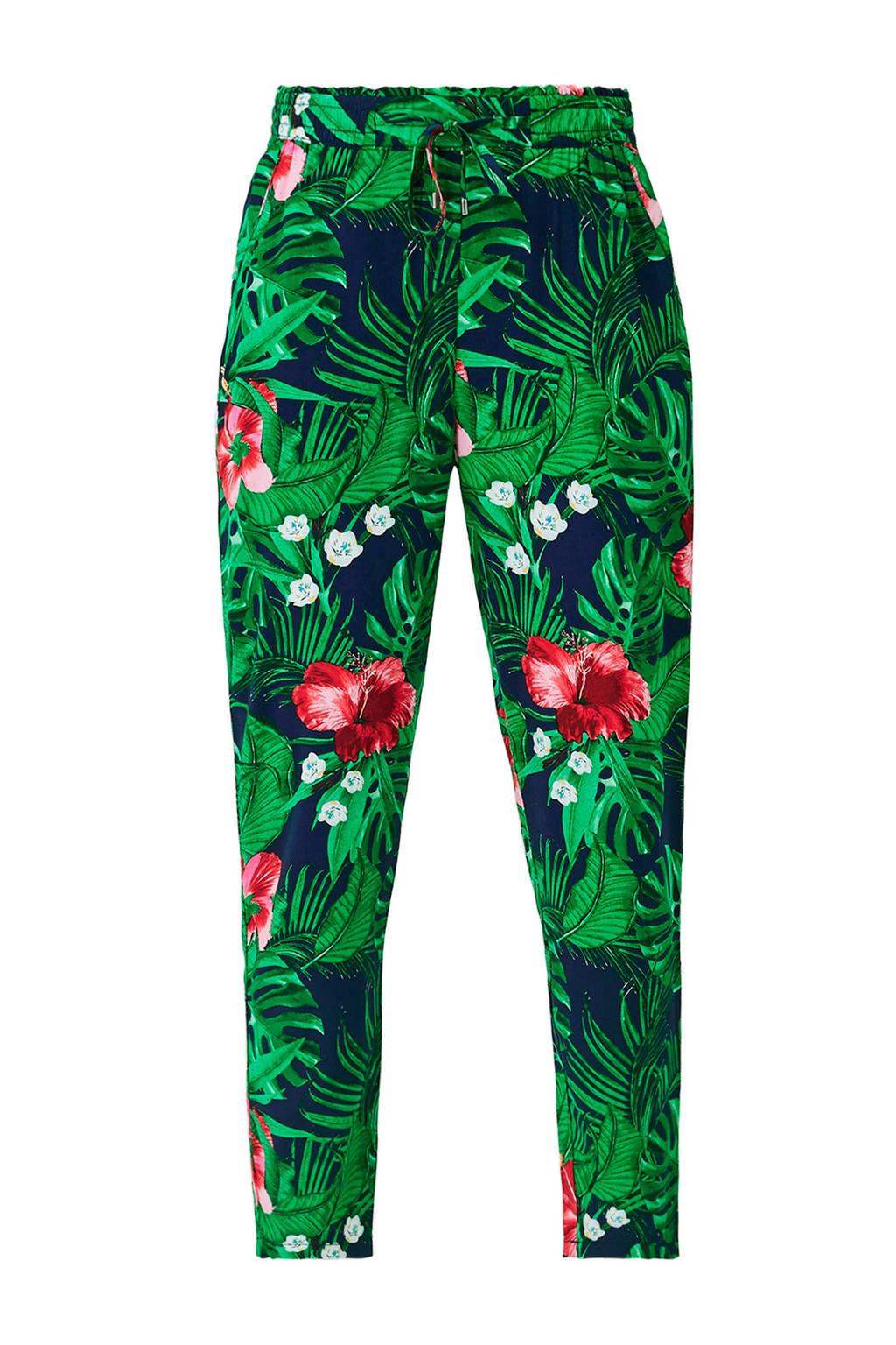 s.Oliver gebloemde cropped tapered fit broek marine/groen, Marine/groen
