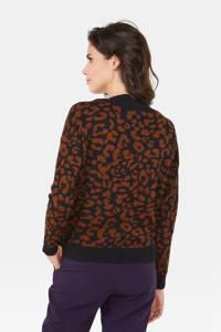 WE Fashion trui met panterprint zwart/bruin, Zwart/bruin