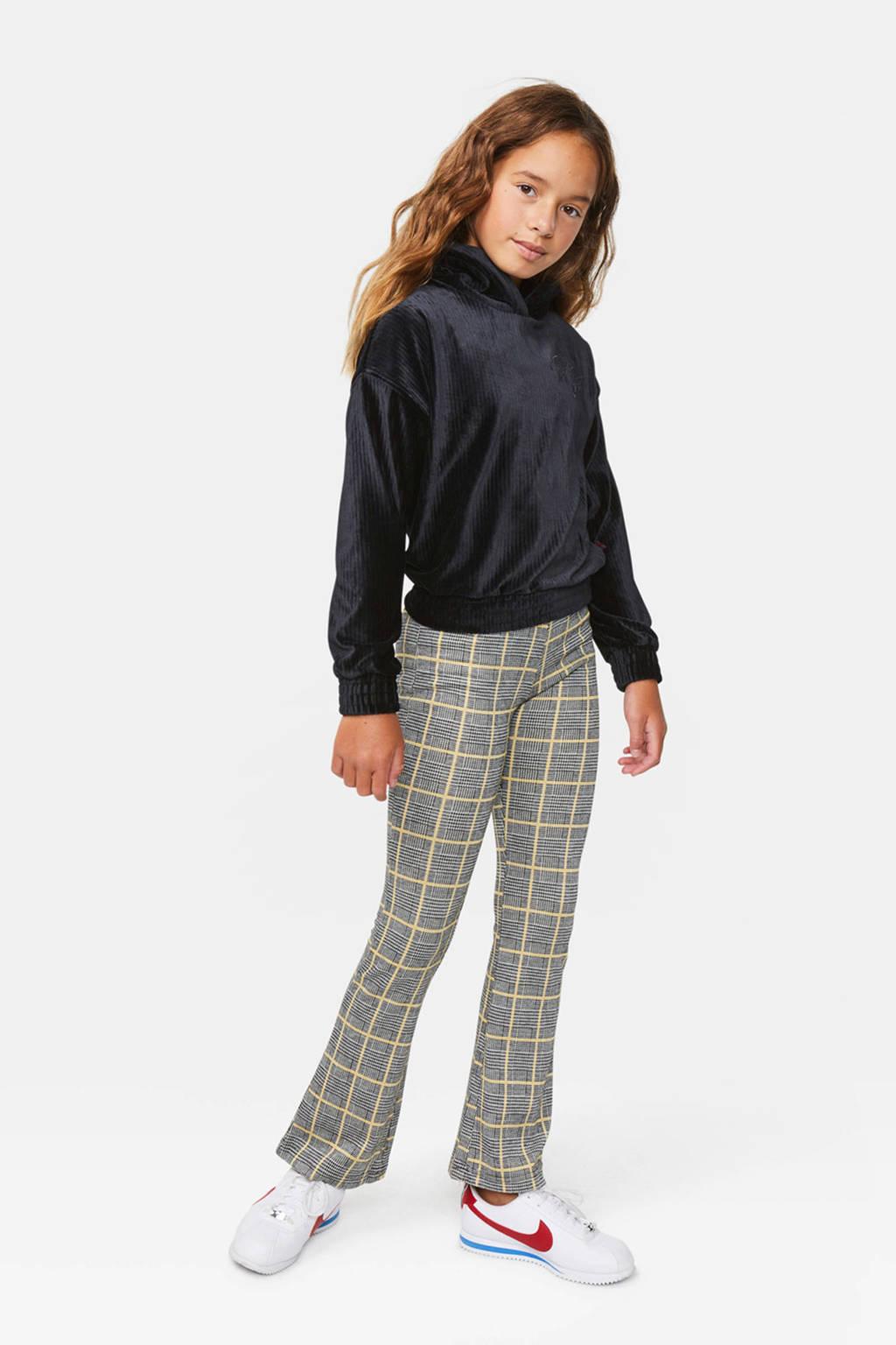 WE Fashion geruite flared broek Tartan wit/beige/zwart, Wit/beige/zwart