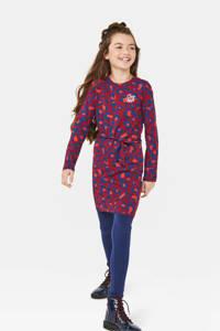 WE Fashion jersey jurk met panterprint donkerrood/donkerblauw/zalm, Donkerrood/donkerblauw/zalm