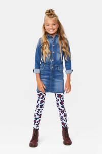 WE Fashion legging met panterprint wit/donkerblauw/rood, Wit/donkerblauw/rood