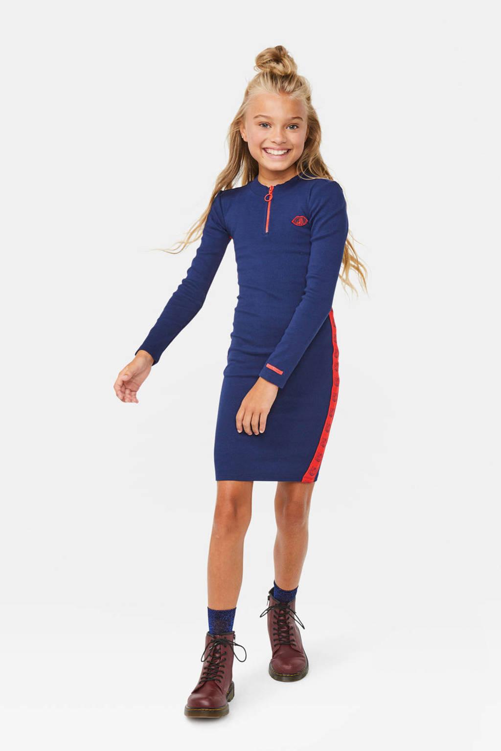 WE Fashion jurk met contrastbies donkerblauw/rood, Donkerblauw/rood