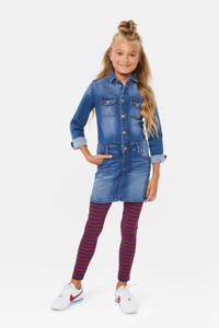 WE Fashion gestreepte legging donkerrood/donkerblauw, Donkerrood/donkerblauw