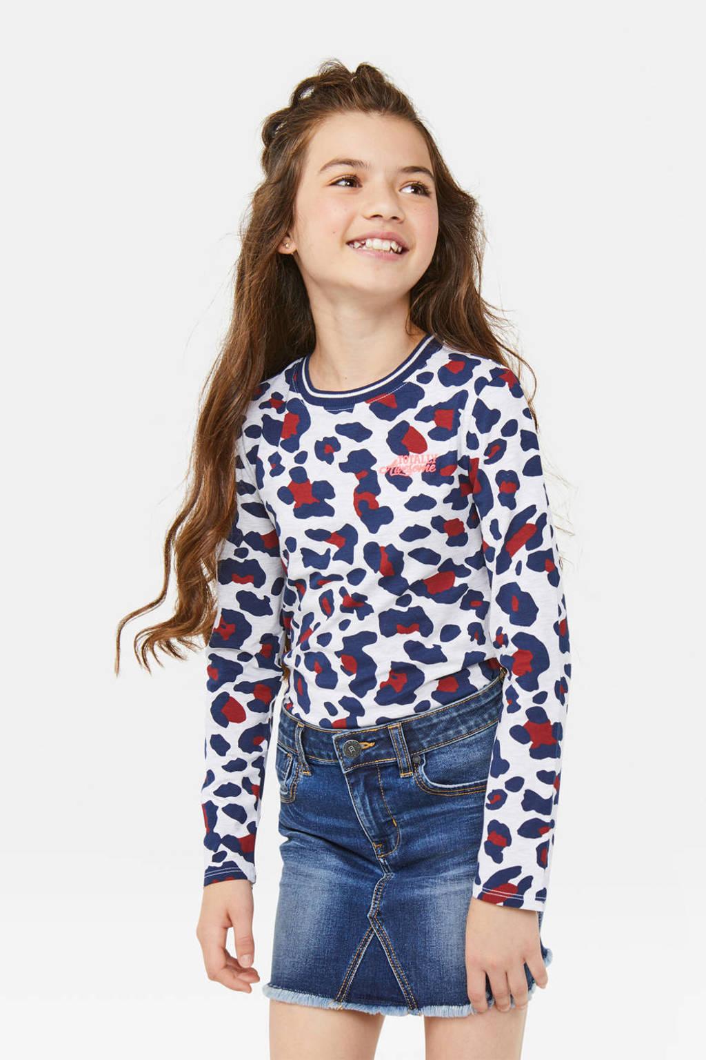 WE Fashion longsleeve met panterprint wit/donkerblauw/donkerrood, Wit/donkerblauw/donkerrood