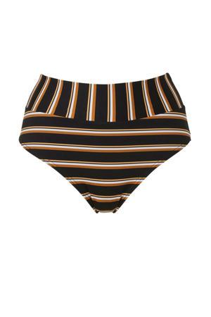 gestreept omslag bikinibroekje zwart