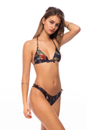 triangel bikinitop met all over print blauw