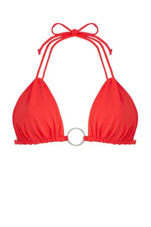 triangel bikinitop met ring koraalrood