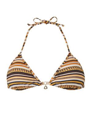 gestreepte triangel bikinitop bruin