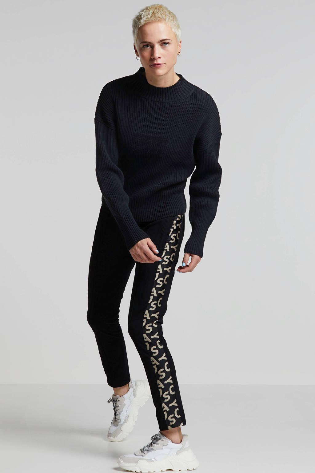 10DAYS regular fit joggingbroek met printopdruk zwart, Zwart
