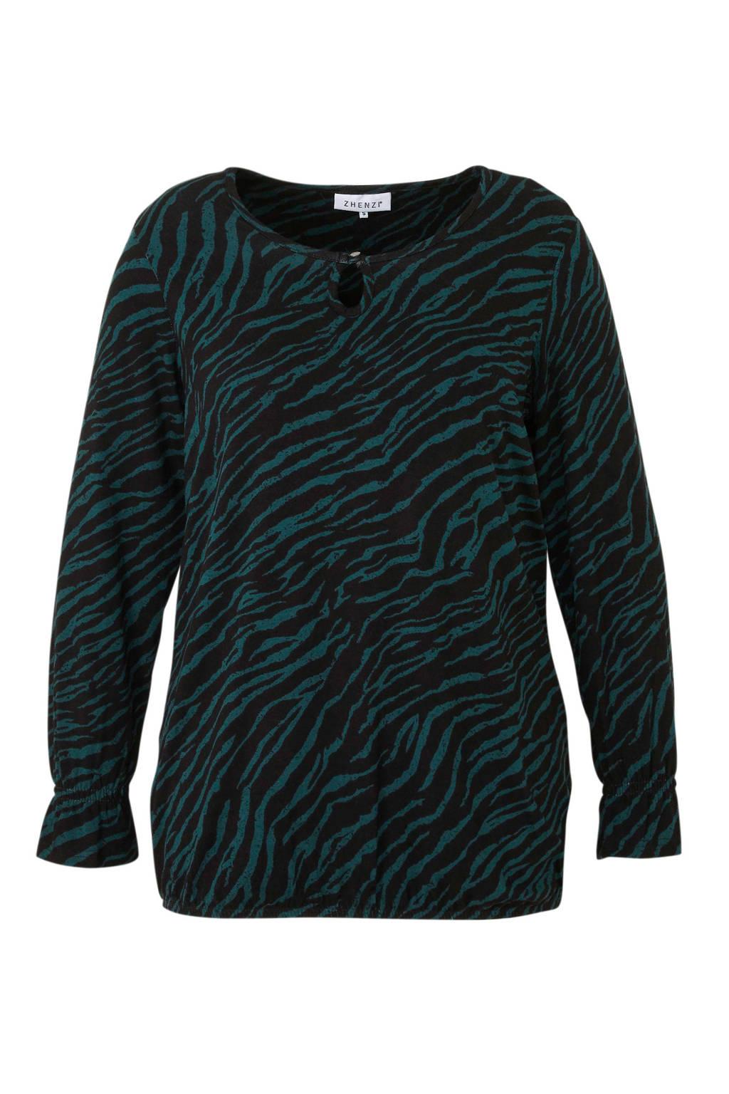 Zhenzi top met zebraprint en open detail groen, Groen