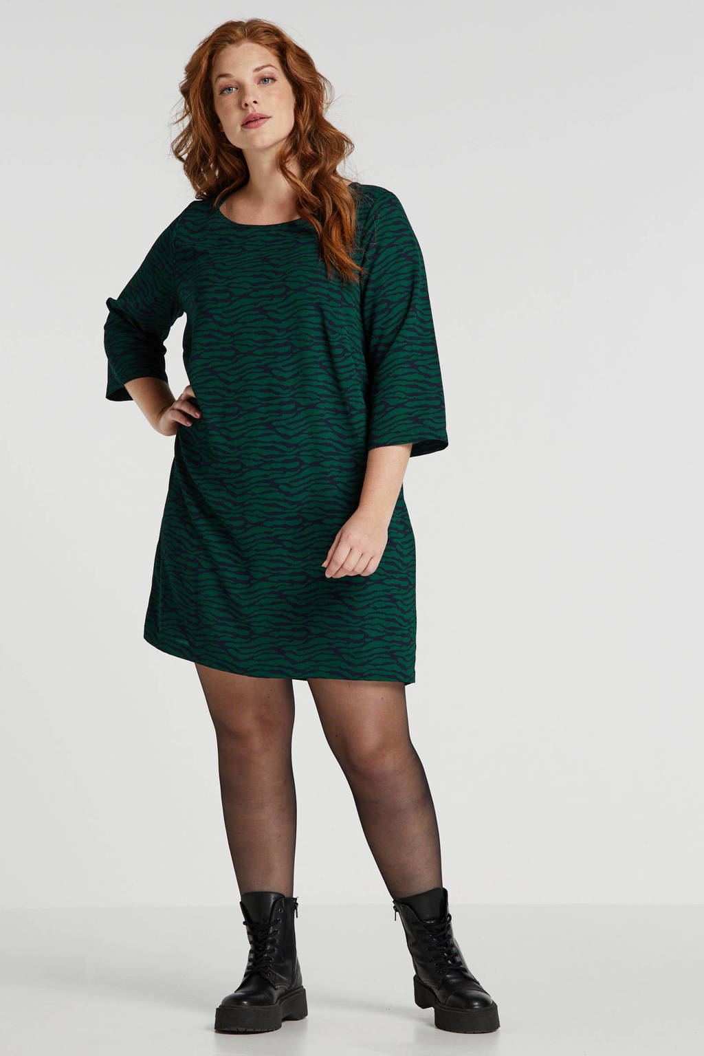ONLY CARMAKOMA jersey jurk met zebraprint donkerblauw/groen, Donkerblauw/groen