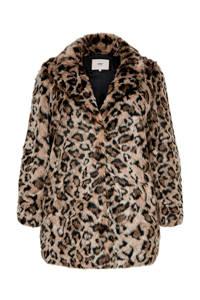 ONLY CARMAKOMA imitatiebont coat met panterprint bruin/zwart, Bruin/zwart