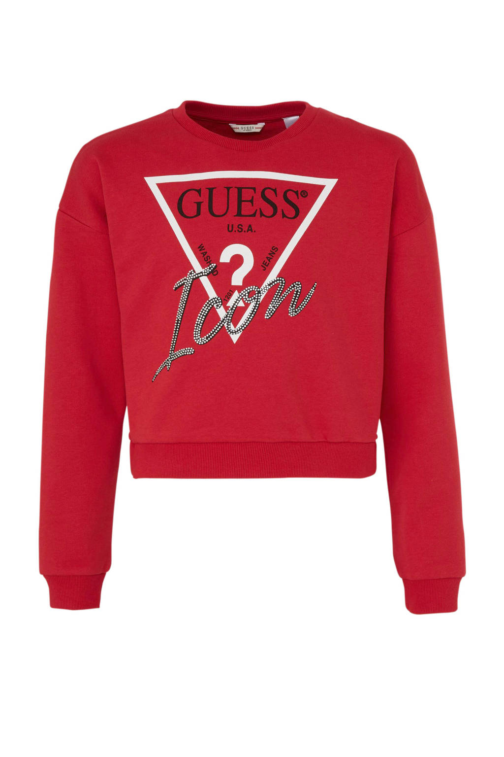 GUESS glittersweater met logo rood, Rood