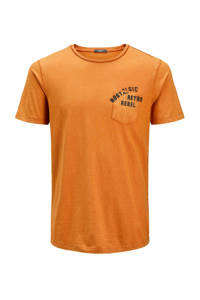 JACK & JONES PREMIUM slim fit T-shirt met tekstopdruk geel, Geel