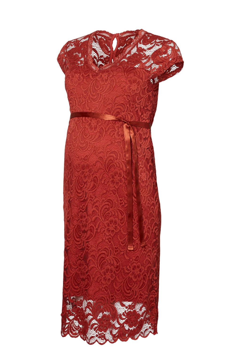 MAMA-LICIOUS kanten zwangerschaps jurk New Mivana, Rood