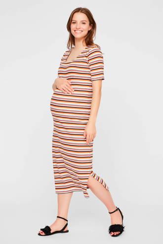 gestreepte zwangerschapsjersey jurk Trishia offwhite/ oranje/ bruin