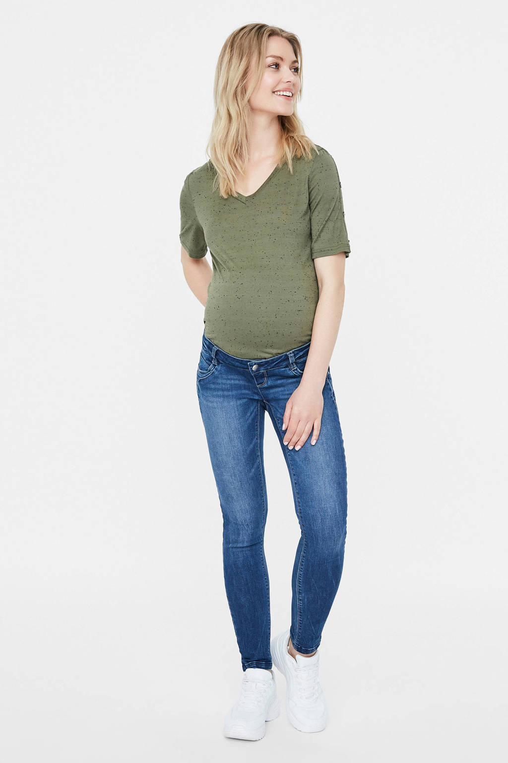 MAMALICIOUS cropped low waist slim fit zwangerschapsjeans Globe, Medium blue denim