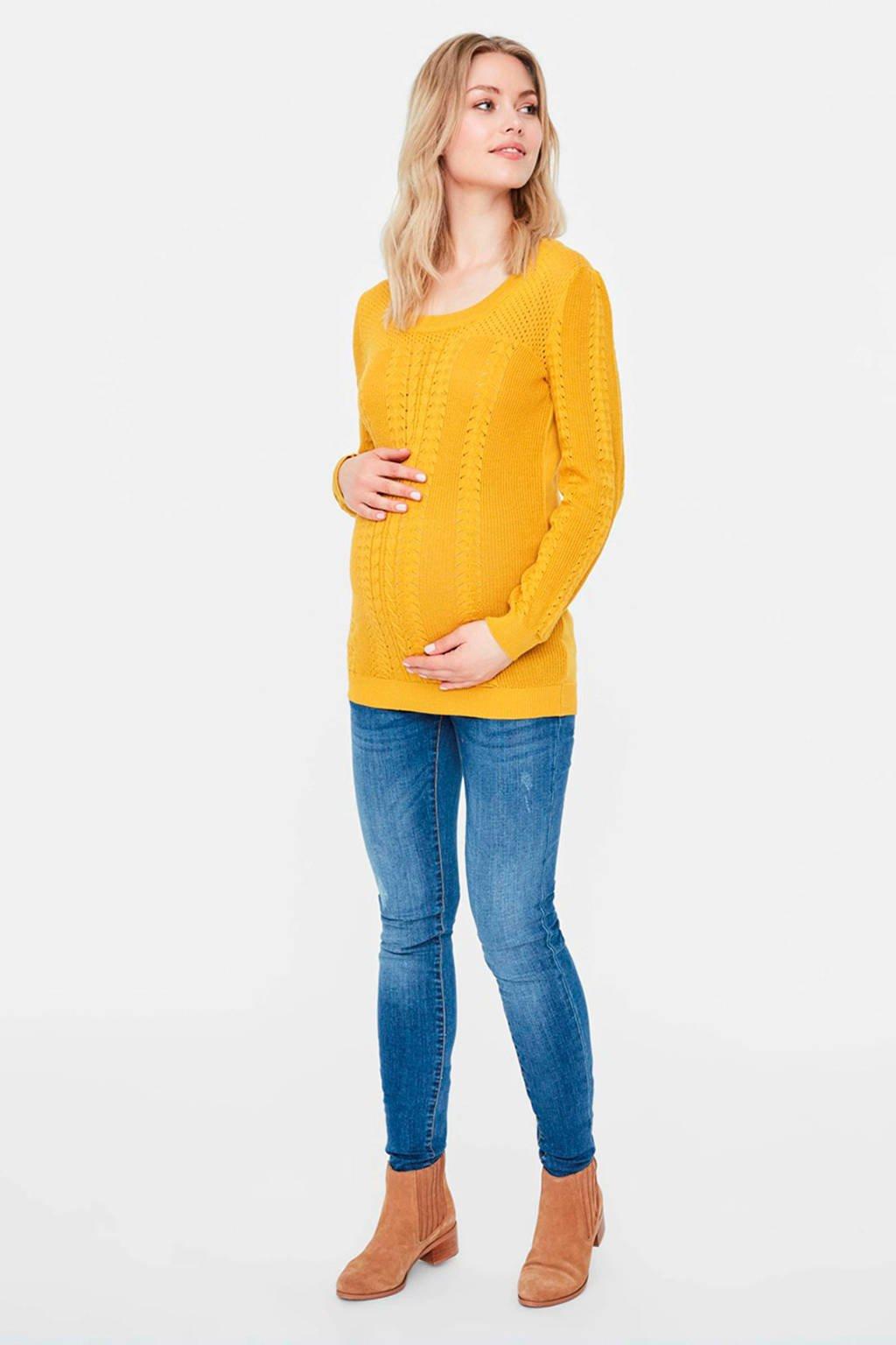 MAMALICIOUS gebreide zwangerschapstrui met open detail okergeel, Okergeel