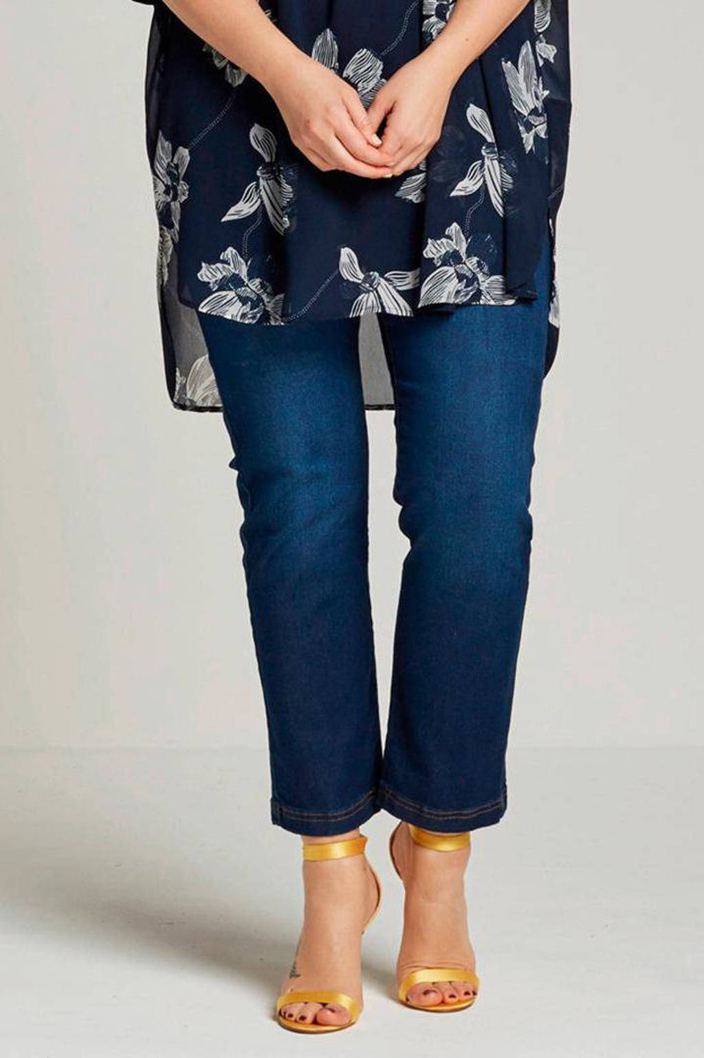 Zizzi slim fit jeans Emily blauw, Blauw