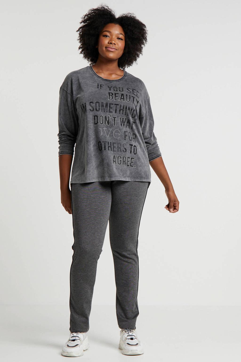 No Secret T-shirt met tekst en sierstenen grijs, Grijs