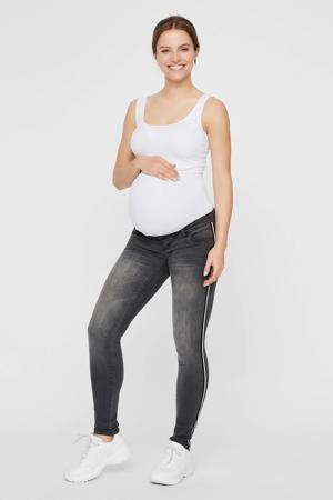 low waist slim fit zwangerschapsjeans Sonar met zijstreep medium grey denim