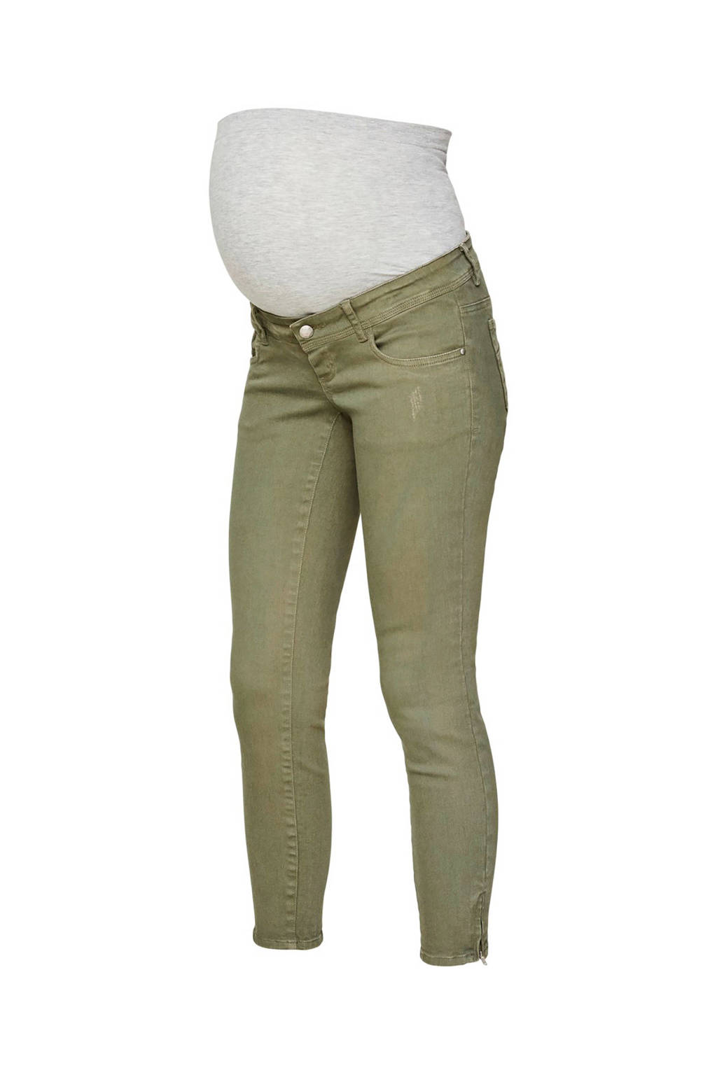 MAMALICIOUS low waist slim fit zwangerschapsjeans Teal 7/8, Groen