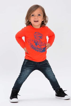 slim fit jeans Franc met slijtage donkerblauw
