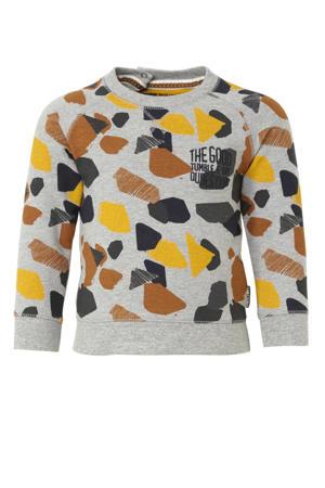 Lo sweater met all over print grijs/geel/bruin