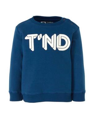 sweater met biologisch katoen blauw/wit