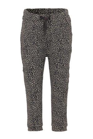 regular fit joggingbroek met all over print en patches grijs/wit