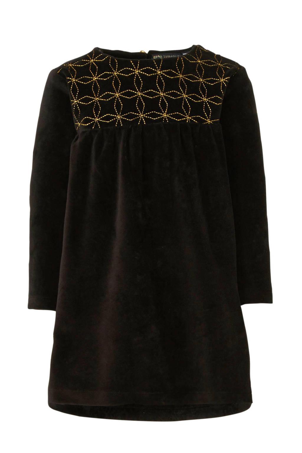 Tumble 'n Dry Lo jurk van fluweel zwart/goud, Zwart/goud